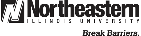 NEIU logo with tagline in black and white