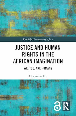 Book cover with the words Justice and Human Rights in the African Imagination