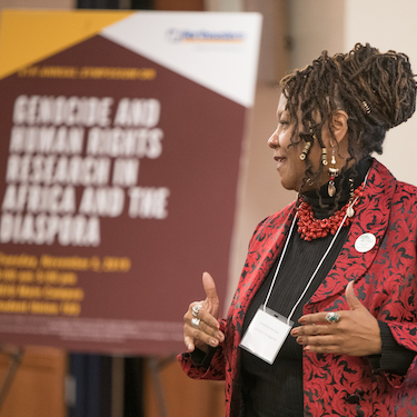 Danita Rountree Green speaking at the2019 Genocide and Human Rights in Africa and the Diaspora Conference