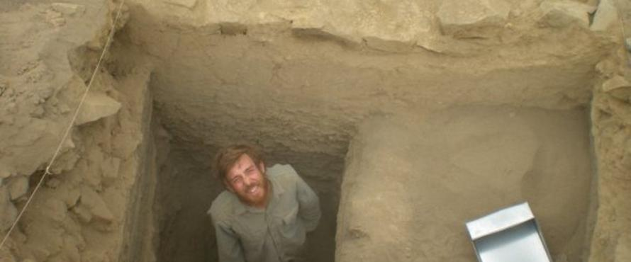 Kyle Stich, B.A. '08, at an excavation site.