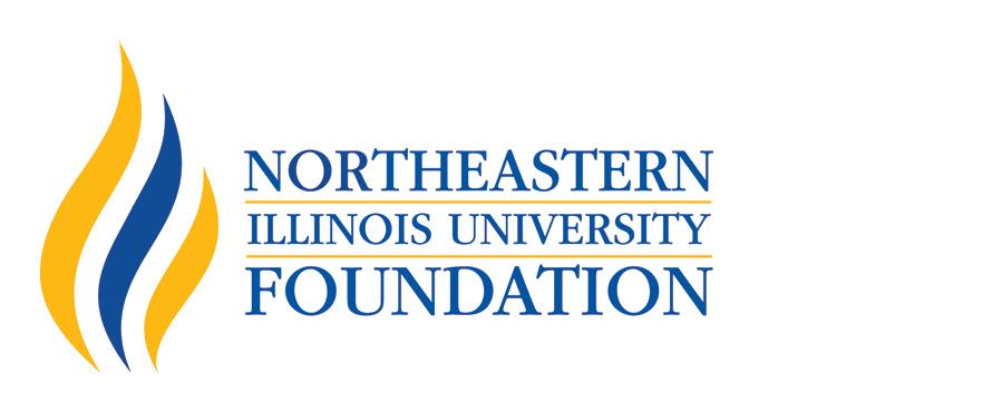 A stylized blue and gold flame image accompanies the words Northeastern Illinois University Foundation