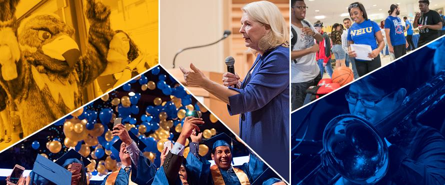 A collage of photos shows lectures, musical performers and an image of Goldie the mascot.
