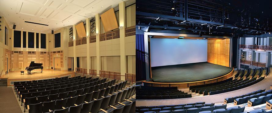 The Recital Hall and Auditorium pictures together in a combined image