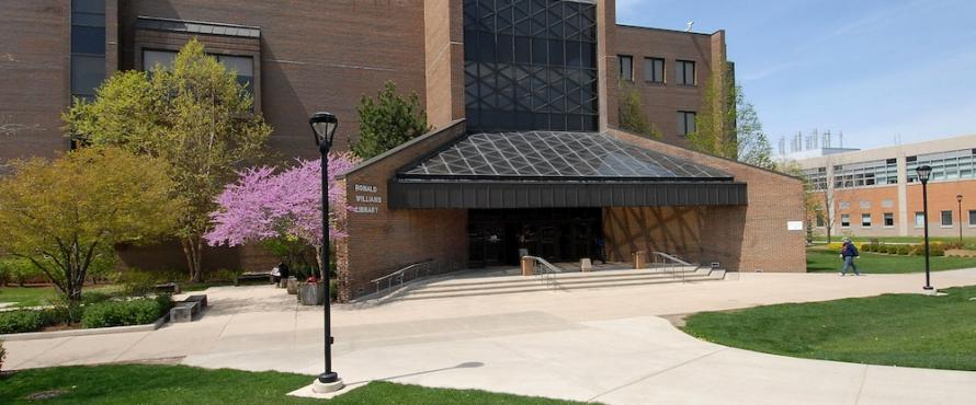 Exterior of Ronald Williams Library in spring