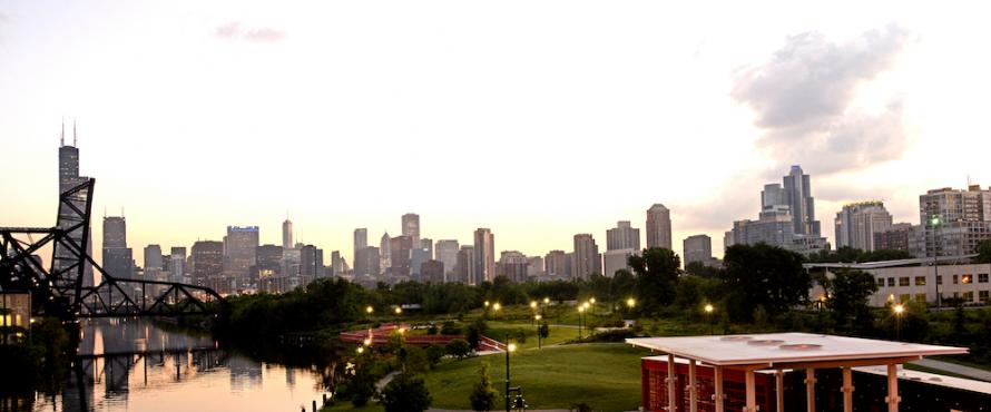 A view of the Chicago skyline around daybreak from the south looking north.