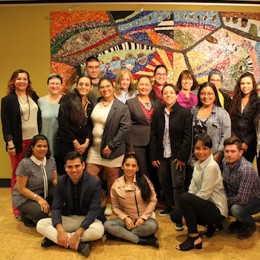 A photo of Peace Symposium attendees including students and faculty members from Northeastern, Universidad del Atlántico and Universidad Simón Bolivar in Colombia, at the Pedroso Center.