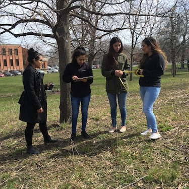 Photo of Northeastern students (left to right) Alison Bonilla, Maricarmen Tellez, Millenia Jimenez and Olga Alfaro participate in a Biology class tree exercise.