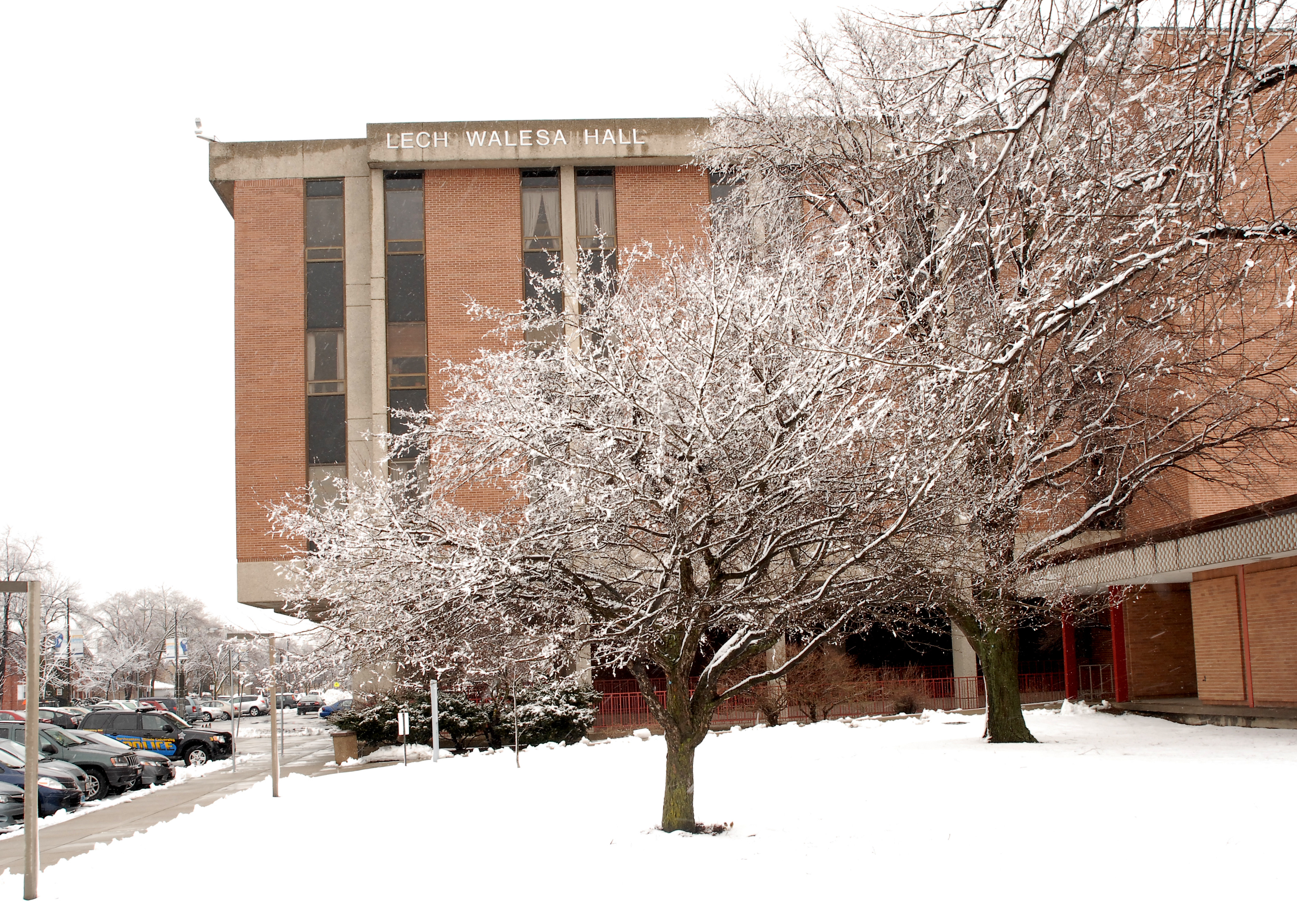 Lech Walesa Hall exterior during the winter.