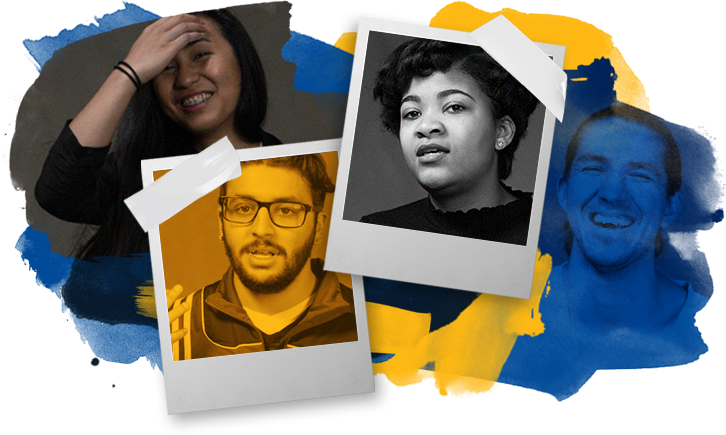 A montage of Northeastern students with blue and yellow highlights.
