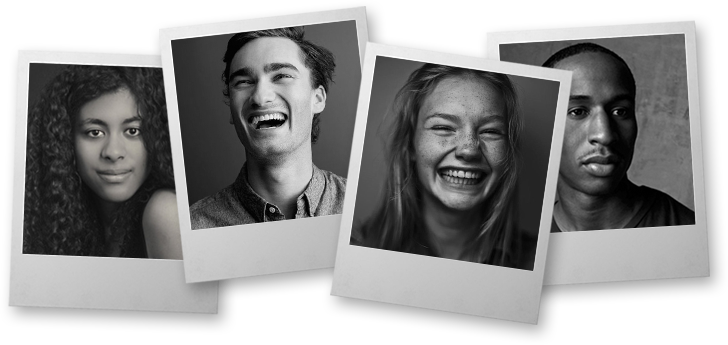 Four overlapping polaroids with students faces