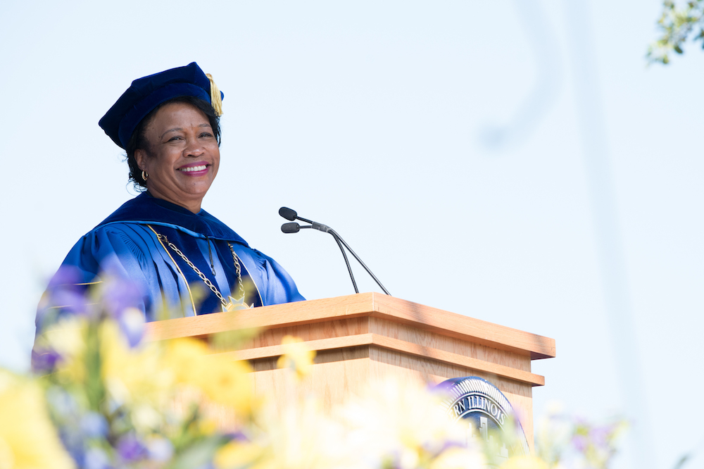 President Gloria J. Gibson smiles during her Inauguration Ceremony address.
