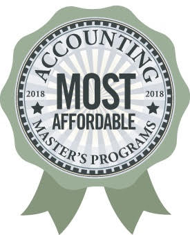 "A ribbon reads ""Most Affordable Accounting Programs 2018"""