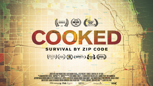 "Film poster of ""Cooked: Survival by Zip Code"" with map of Chicago"
