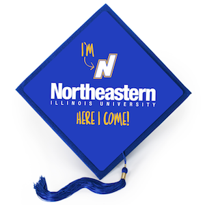 "A tassel topper reads ""I'm Northeastern Illinois University. Here I come!"""