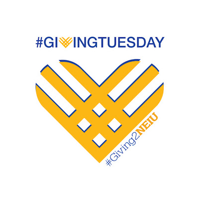 The Giving Tuesday logo that looks like a gold mesh heart