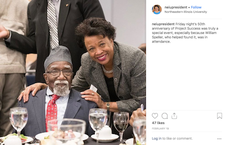 A screen grab of an Instagram post shows President Gibson posing at a formal table with a man.