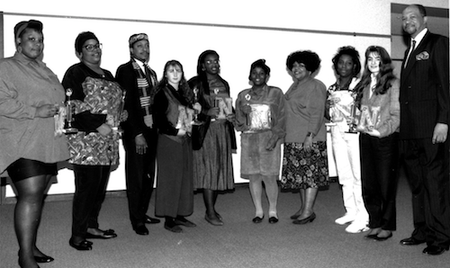 Project Success Award ceremony, 1992, Roosevelt Gordon (right), Marylene Whitehead (4th from right), Johnny Dorsey (3rd from left) and student awardees. (University archive)