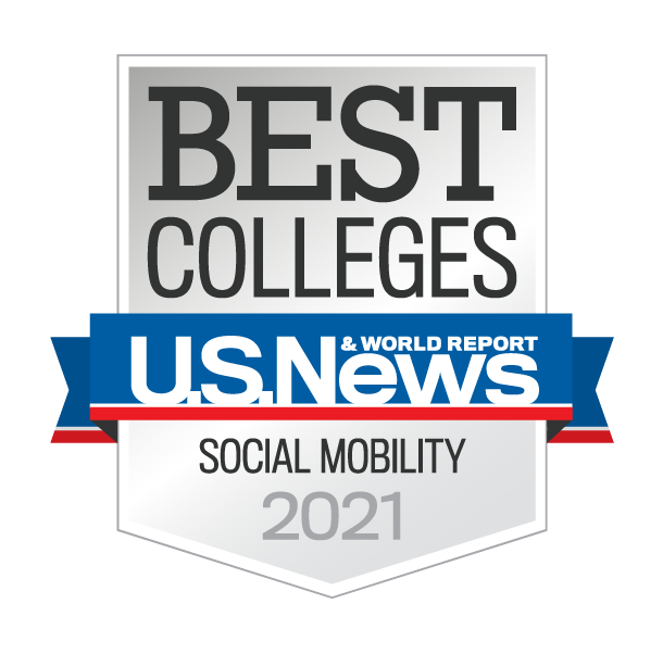 Badge reads: Best Colleges U.S. News & World Report Social Mobility 2021
