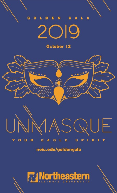 The Golden Gala invitation design featuring a drawing of a stylized eagle mask