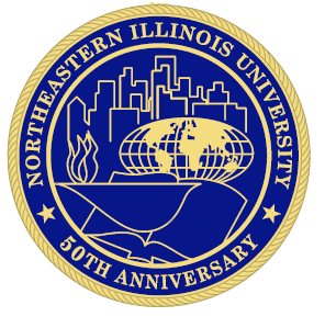 The University Seal that depicts the city, the globe, a torch and a book in gold on a blue circle with the words Northeastern Illinois University  50th Anniversary