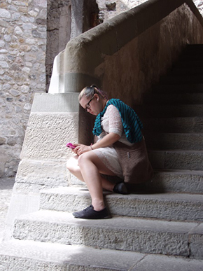 Caitlyn Edwards relaxes after a long day exploring Chateau Chillon.