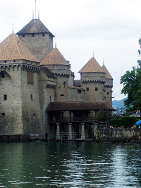 "Chateau Chillon, a 13th Century castle first used by the Duke of Savoy, and made famous by Lord Byron in his poem, ""The Prisoner of Chillon."""