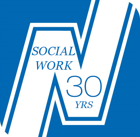 A logo image with a white capital N on a blue background with the words Social Work Thirty Years