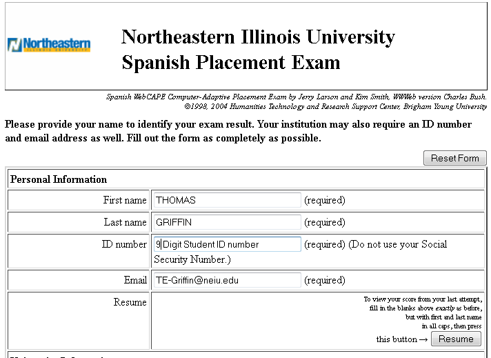 Screenshot of Survey to Reprint Placement Exam Results