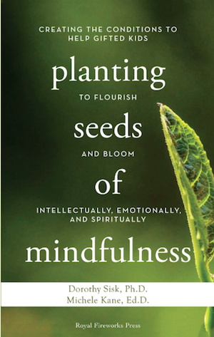 "Book cover of ""Planting Seeds of Mindfulness"" featuring a closeup of a leaf on a green background"