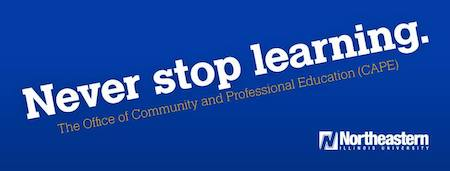 This ad is white text on a blue background that reads: Never stop learning. The Office of Community and Professional Education.