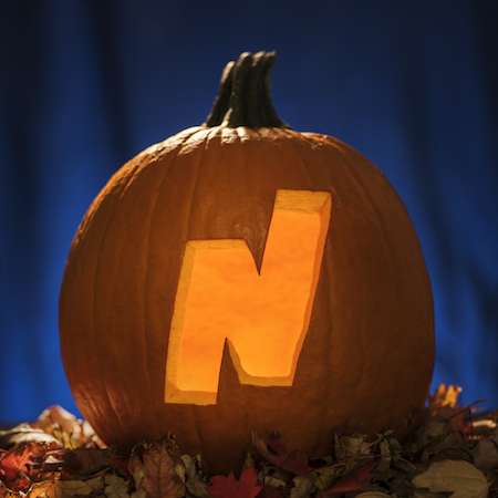 The Northeastern N logo is carved into a pumpkin.