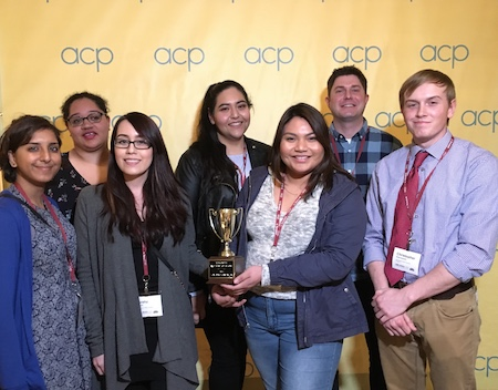 Six students pose at the Associated Collegiate Press 2018 Midwinter National College Journalism Convention