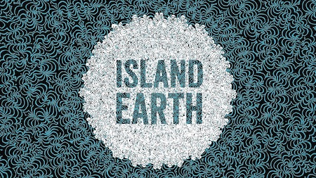 """Island Earth"" movie poster shows blue text over a white background."