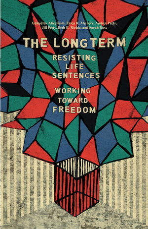 Blue, green, black and red triangles on the book cover of The Long Term