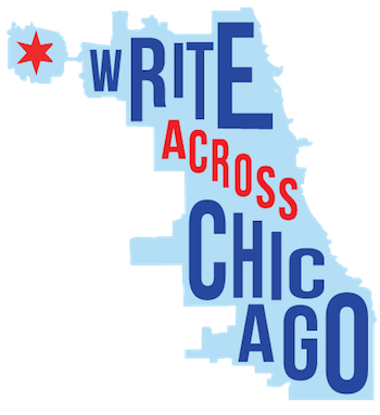 Write Across Chicago is written over a map of Chicago.