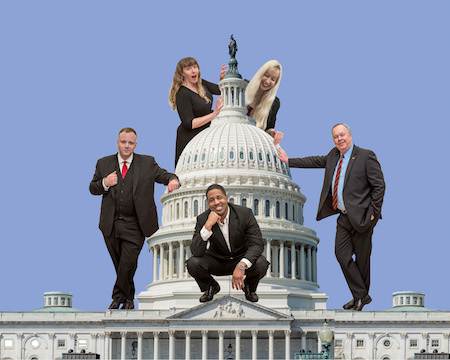 Five members of the improv comedy group The Capitol Steps are shown leaning against the Capitol building in Washington, D.C.