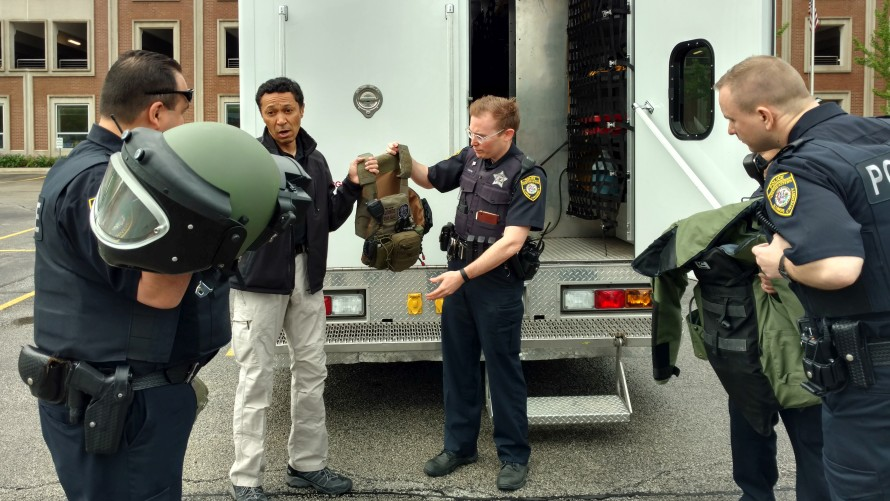 Bomb Squad Technician displaying specialized equipment