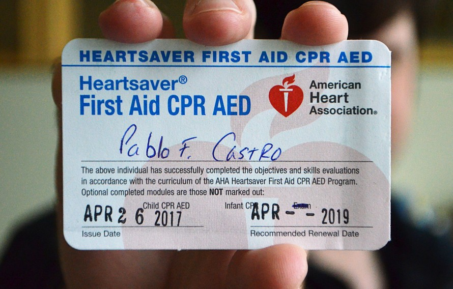 Officer Pablo Castro's First Aid and CPR AED card