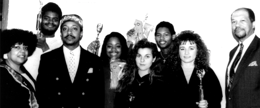 Project Success, 1991, left to right: Marylene Whitehead, Demetrius Bell, Johnny Dorsey, Project Success Awardees and Roosevelt Gordon. (University archive)