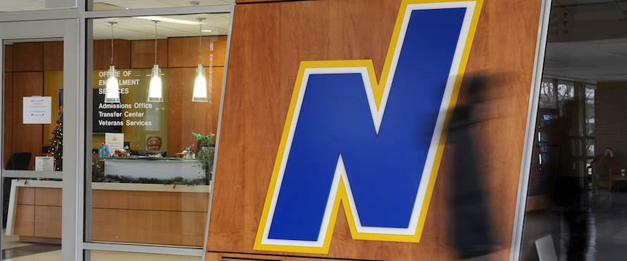 The Flying N logo at the entrance of an office