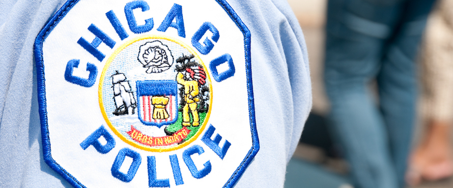 Photo of official Chicago Police Department patch on a shirt sleeve