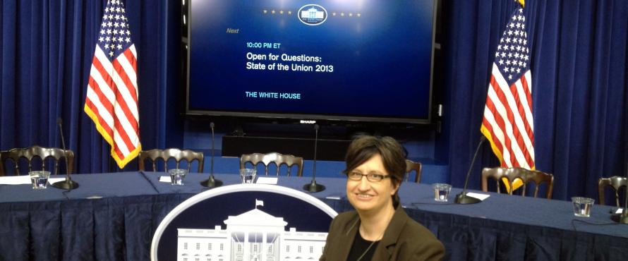 M.A. Alumn Julie Wight at the White House