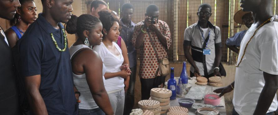 NEIU and Ghanian students work on research projects together.