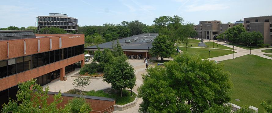 Aerial view of the NEIU campus.