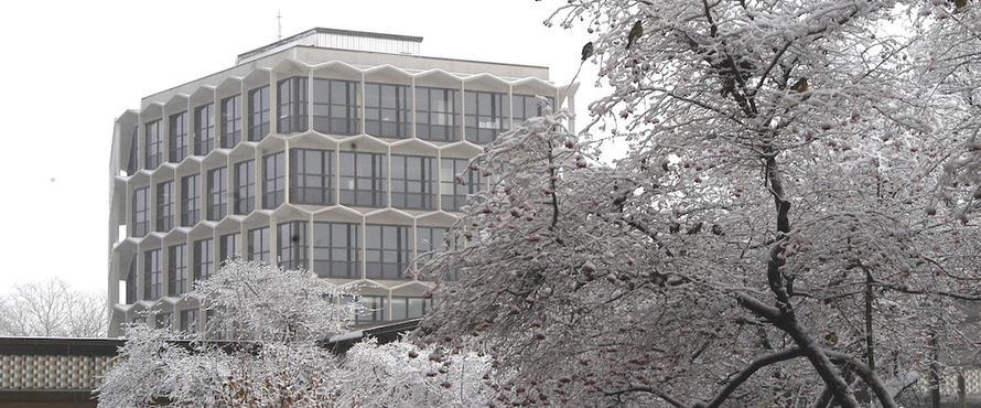 Sachs Administration Building in the snow