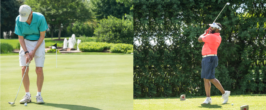 Two photos: one man gets ready to hit golf ball; another man in mid-swing