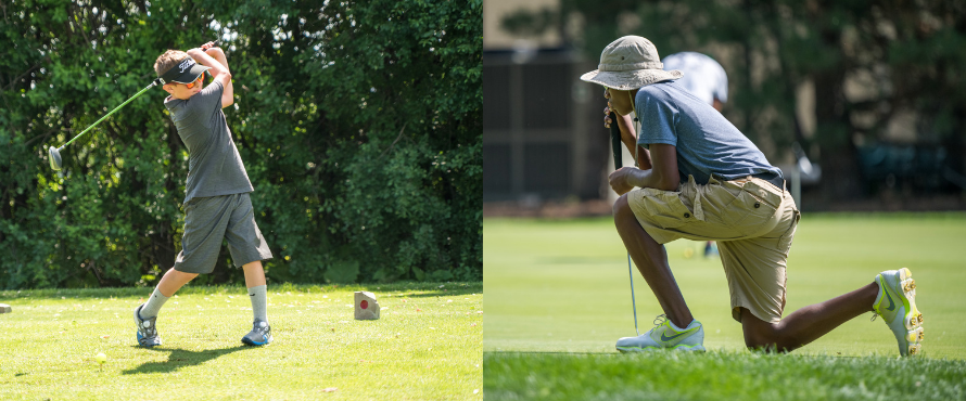Two photos: one kid in mid-swing after hitting golf ball; another kneeling to find the perfect shot