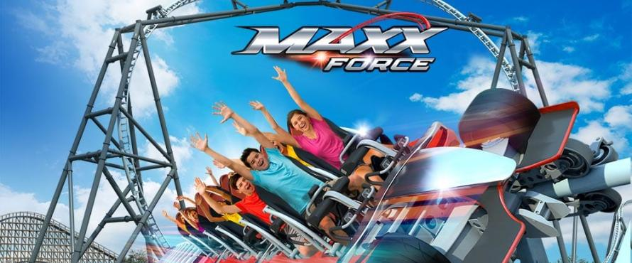 Six Flags-Max Force Roller Coaster promotional image