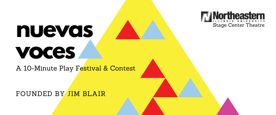 static image of poster reads: Nuevas Voces, a 10-minute play festival & contest, founded by Jim Blair