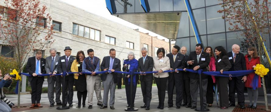 Northeastern Illinois University President Sharon Hahs and dignitaries cut the ribbon at El Centro on Sept. 30.